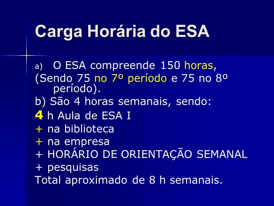 Carga Horária do ESA 4 h Aula de ESA I O ESA compreende 150 horas,