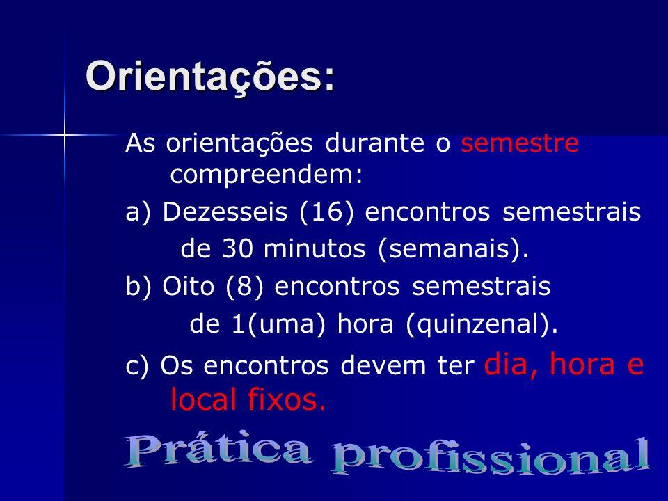 Orientações: Prática profissional
