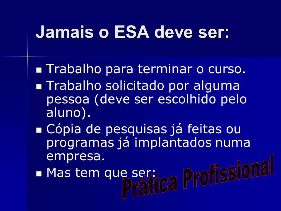Jamais o ESA deve ser: Prática Profissional