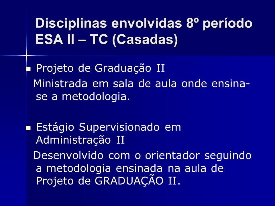 Disciplinas envolvidas 8º período ESA II – TC (Casadas)