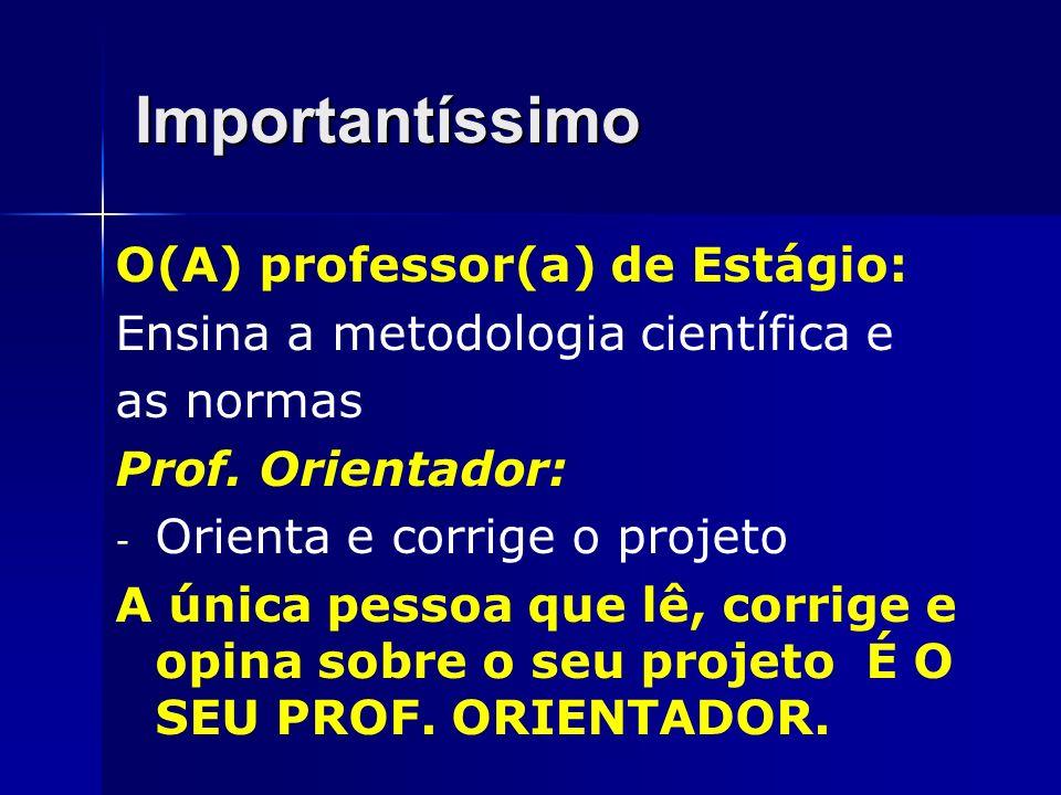 Importantíssimo O(A) professor(a) de Estágio: