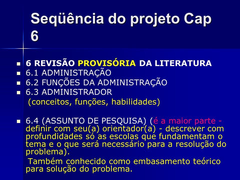 Seqüência do projeto Cap 6