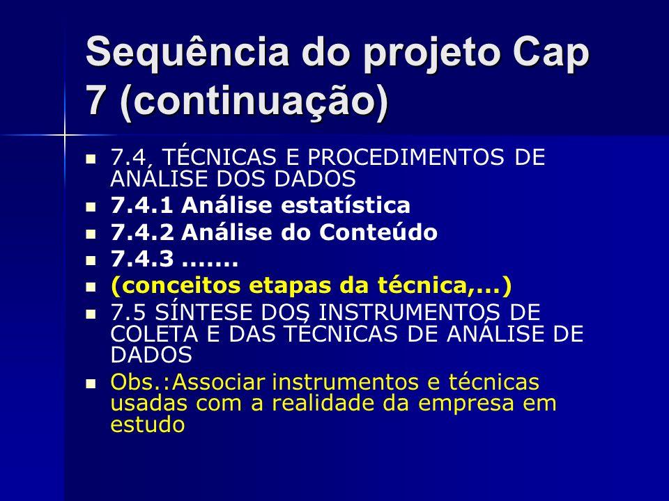 Sequência do projeto Cap 7 (continuação)