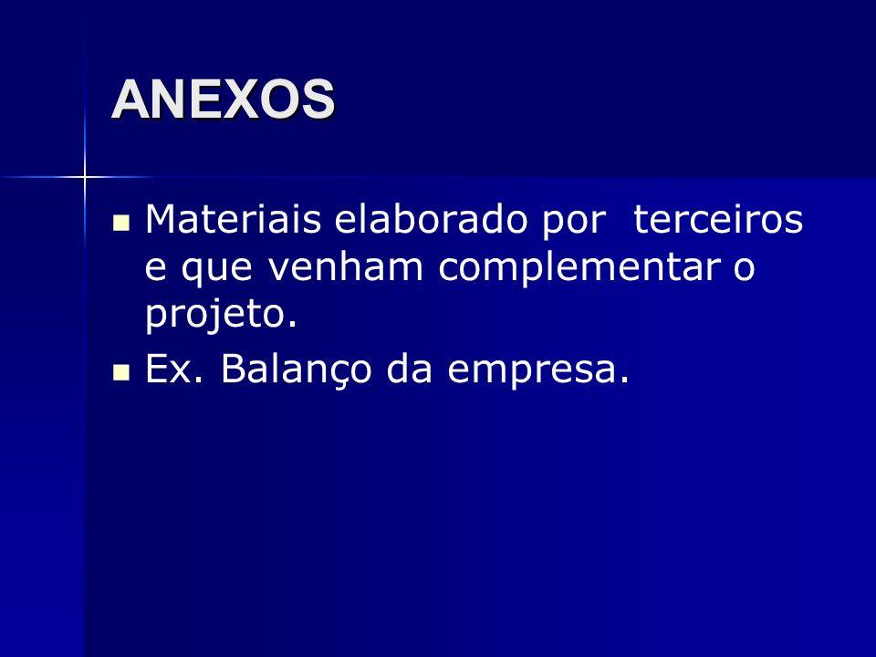 ANEXOS Materiais elaborado por terceiros e que venham complementar o projeto.