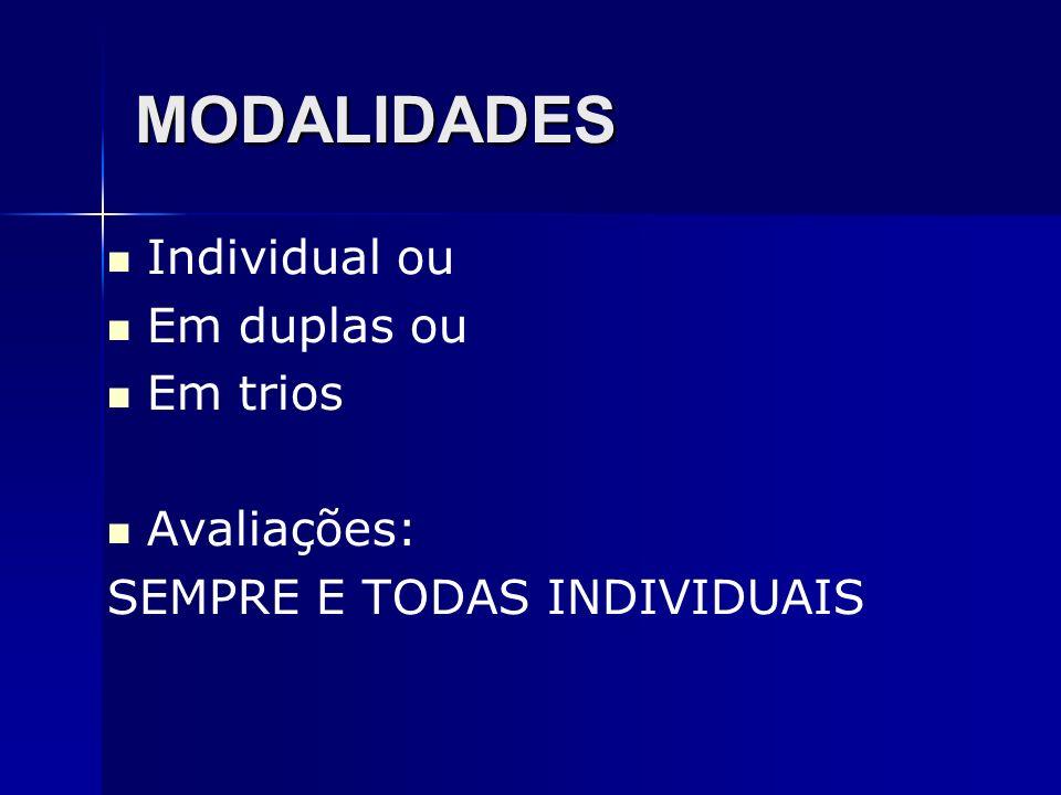 MODALIDADES Individual ou Em duplas ou Em trios Avaliações:
