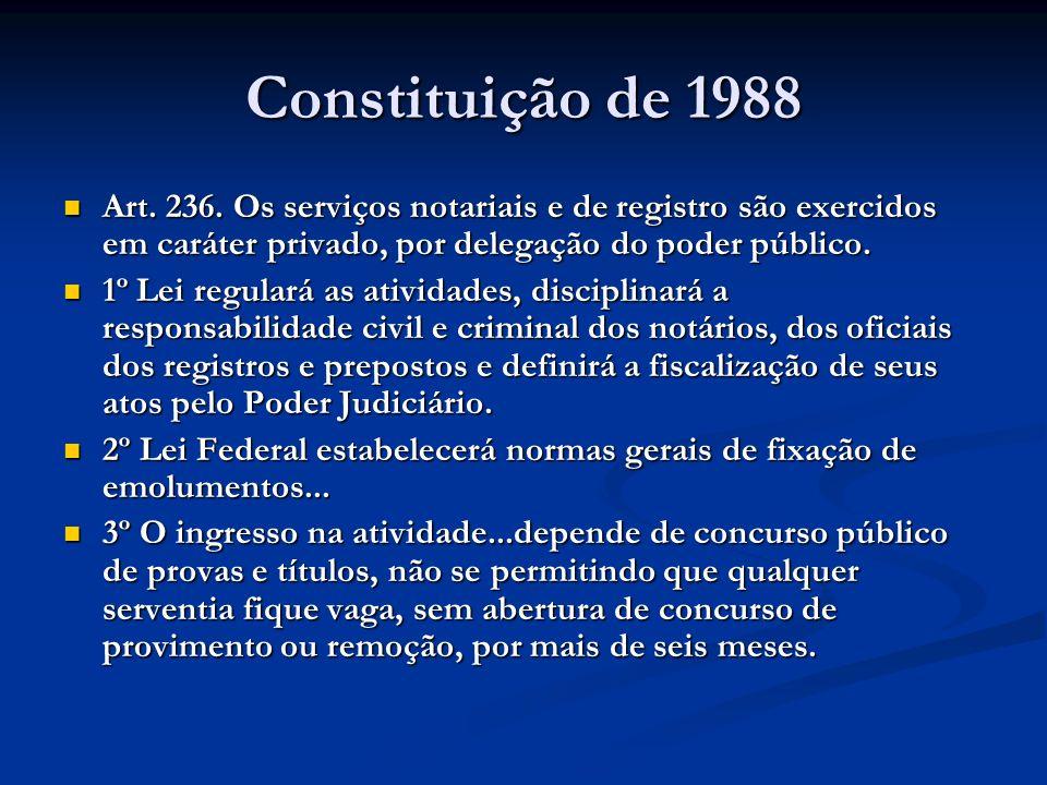 Constituição de 1988Art. 236. Os serviços notariais e de registro são exercidos em caráter privado, por delegação do poder público.