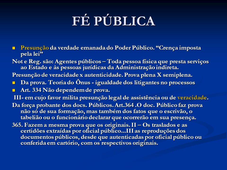 FÉ PÚBLICA Presunção da verdade emanada do Poder Público. Crença imposta pela lei
