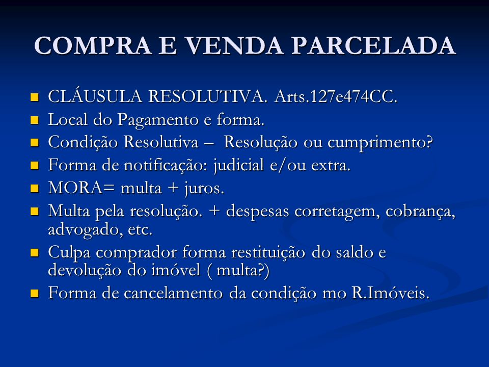 COMPRA E VENDA PARCELADA