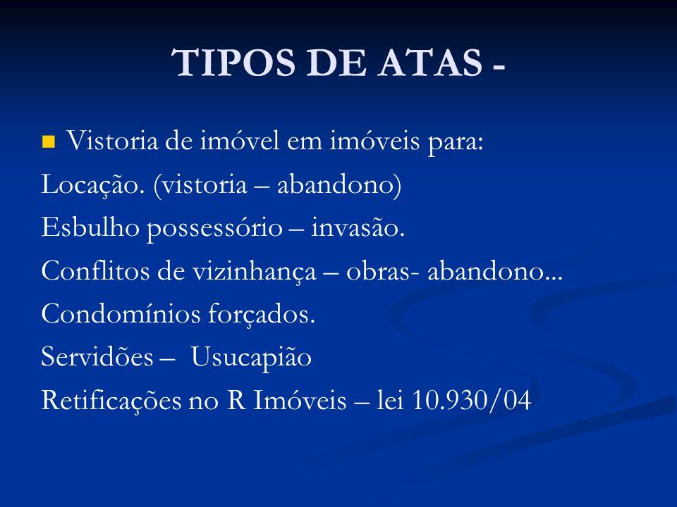 TIPOS DE ATAS - Vistoria de imóvel em imóveis para: