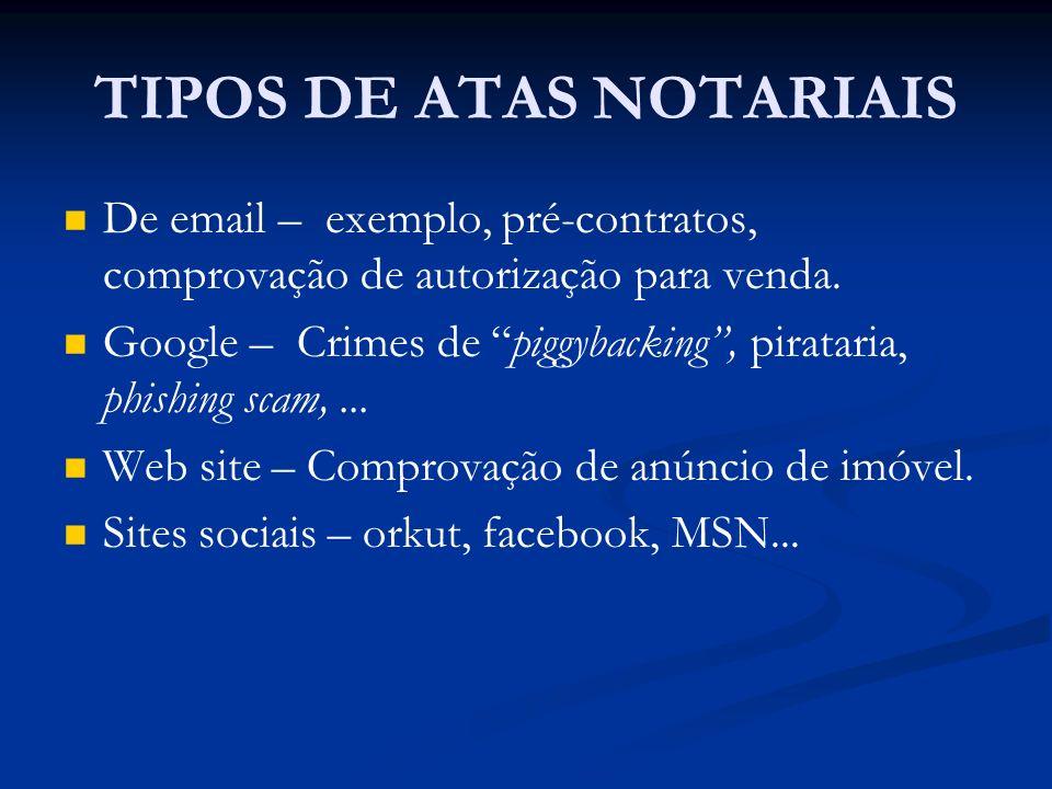 TIPOS DE ATAS NOTARIAIS
