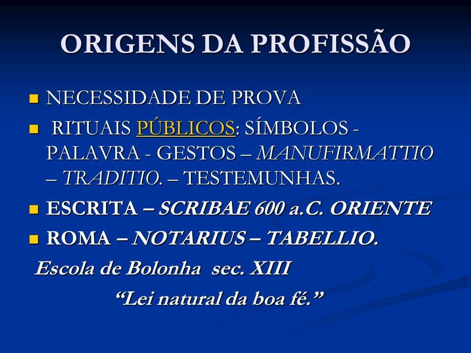 ORIGENS DA PROFISSÃO NECESSIDADE DE PROVA