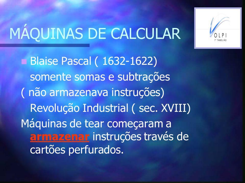 MÁQUINAS DE CALCULAR Blaise Pascal ( 1632-1622)