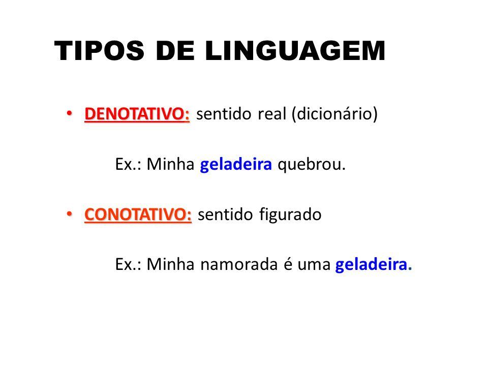 TIPOS DE LINGUAGEM DENOTATIVO: sentido real (dicionário)