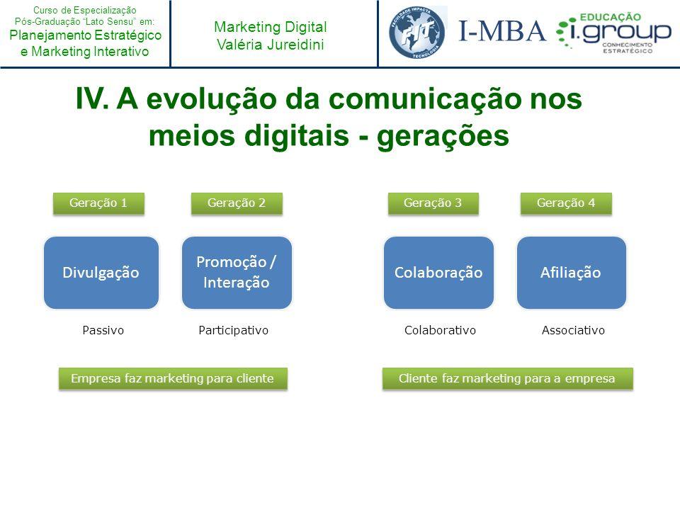 IV. A evolução da comunicação nos meios digitais - gerações