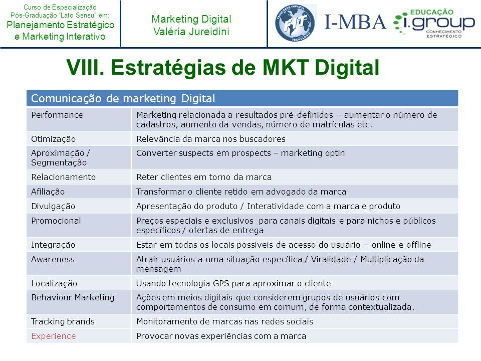 VIII. Estratégias de MKT Digital