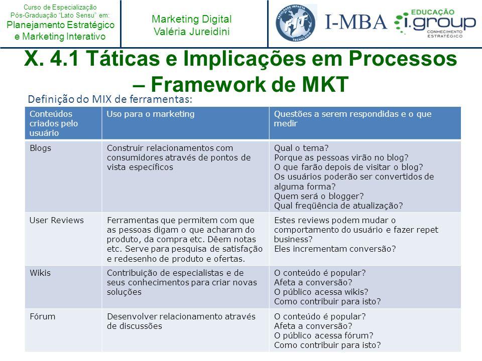 X. 4.1 Táticas e Implicações em Processos