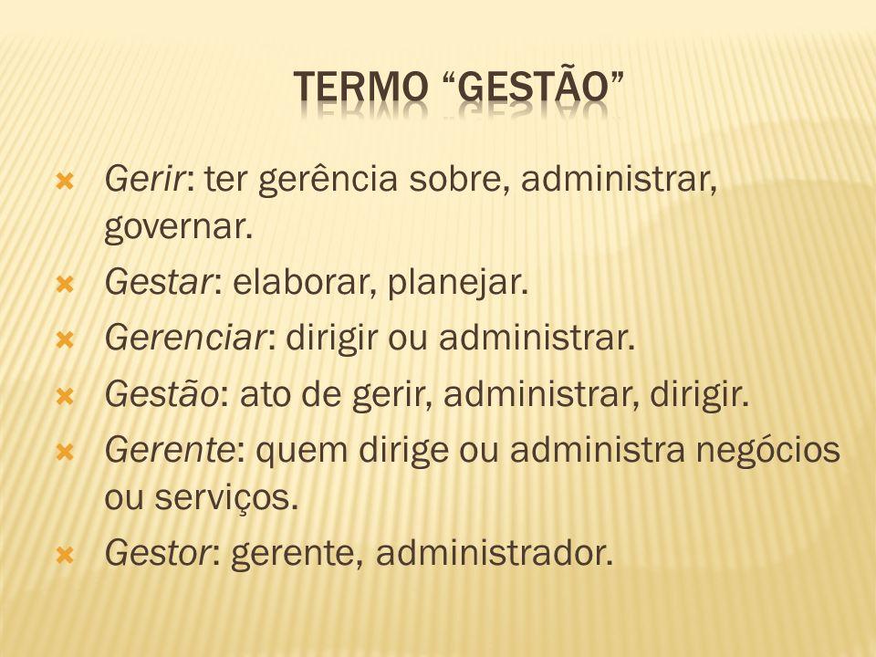 Termo gestão Gerir: ter gerência sobre, administrar, governar.