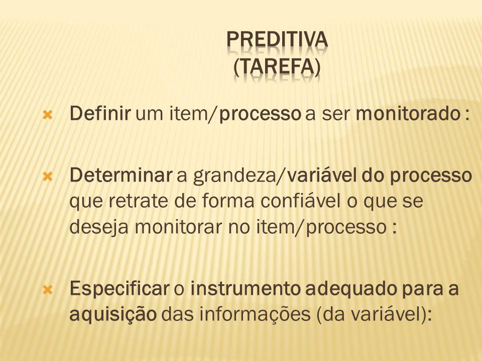 PREDITIVA (Tarefa) Definir um item/processo a ser monitorado :