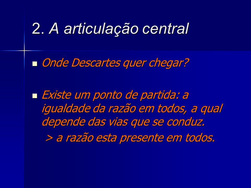 2. A articulação central Onde Descartes quer chegar