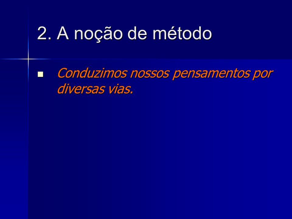 2. A noção de método Conduzimos nossos pensamentos por diversas vias.