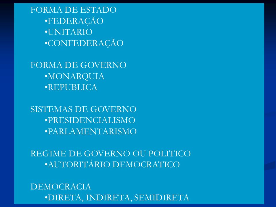 FORMA DE ESTADO FEDERAÇÃO. UNITARIO. CONFEDERAÇÃO. FORMA DE GOVERNO. MONARQUIA. REPUBLICA. SISTEMAS DE GOVERNO.