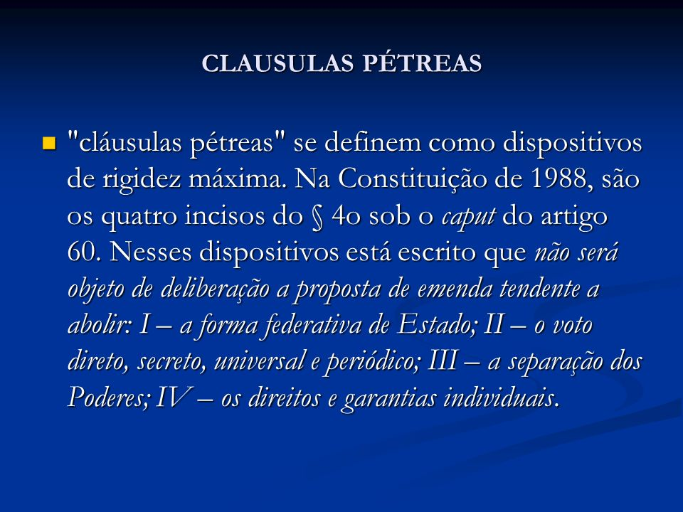 CLAUSULAS PÉTREAS