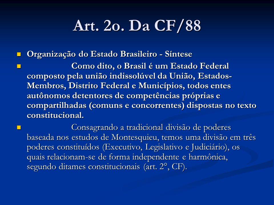 Art. 2o. Da CF/88 Organização do Estado Brasileiro - Síntese