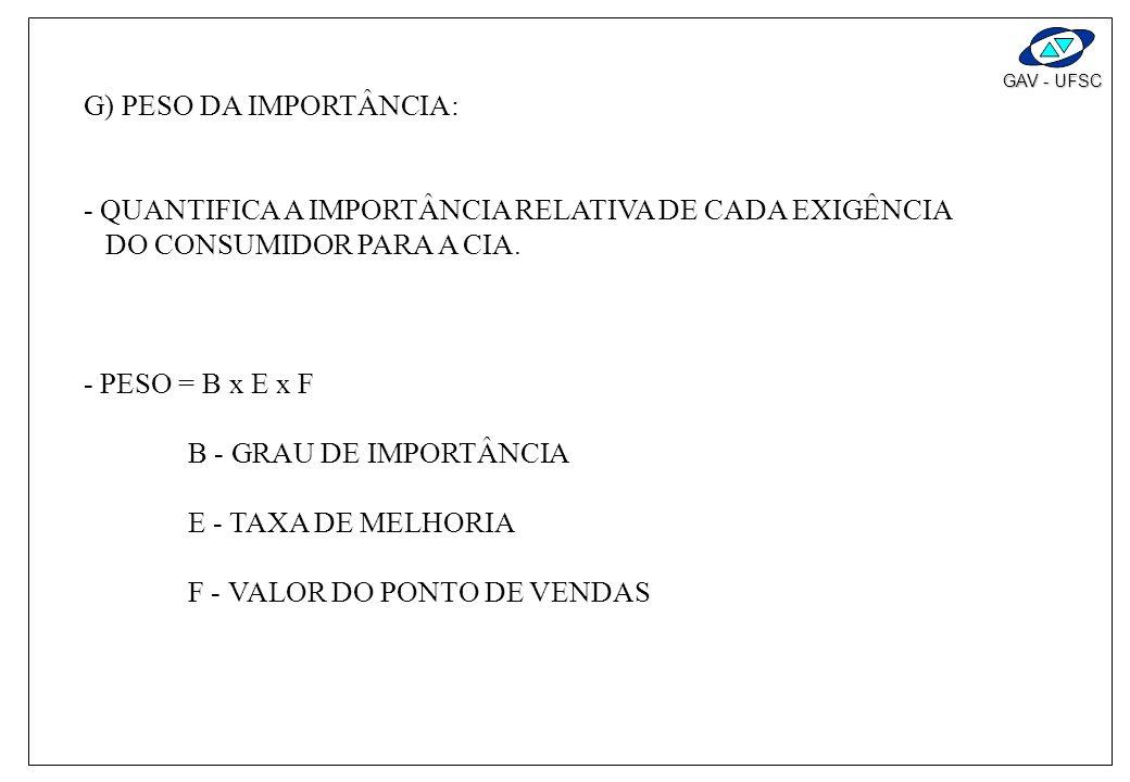 G) PESO DA IMPORTÂNCIA: