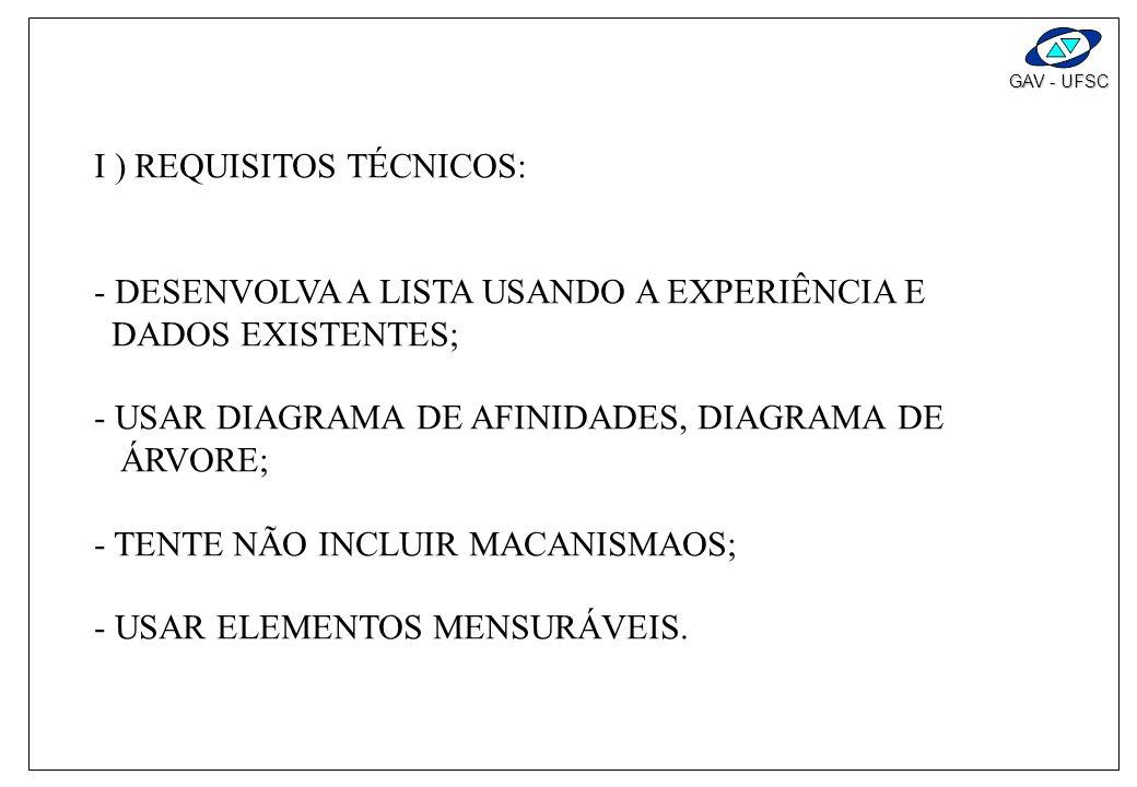 I ) REQUISITOS TÉCNICOS: