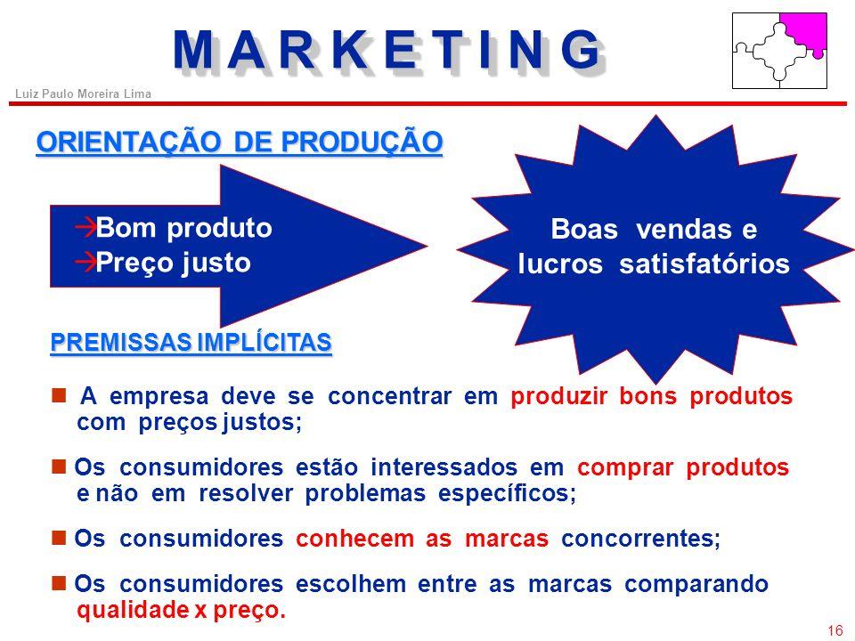 M A R K E T I N G ORIENTAÇÃO DE PRODUÇÃO Bom produto Boas vendas e