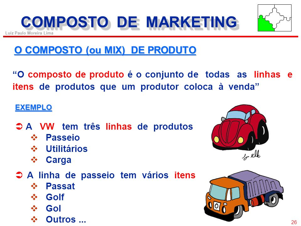 COMPOSTO DE MARKETING O COMPOSTO (ou MIX) DE PRODUTO