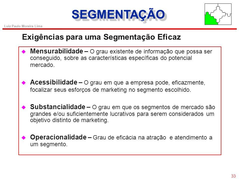 SEGMENTAÇÃO Exigências para uma Segmentação Eficaz 33