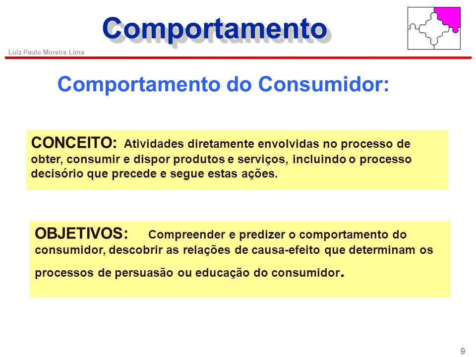 Comportamento Comportamento do Consumidor: