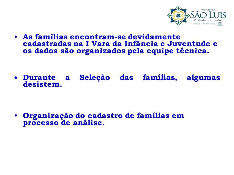 As famílias encontram-se devidamente cadastradas na I Vara da Infância e Juventude e os dados são organizados pela equipe técnica.