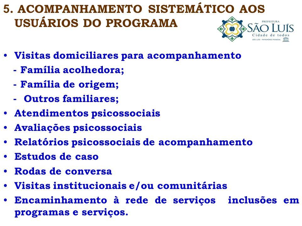 5. ACOMPANHAMENTO SISTEMÁTICO AOS USUÁRIOS DO PROGRAMA