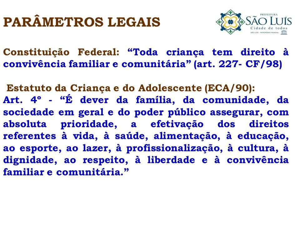 PARÂMETROS LEGAIS Constituição Federal: Toda criança tem direito à convivência familiar e comunitária (art. 227- CF/98)