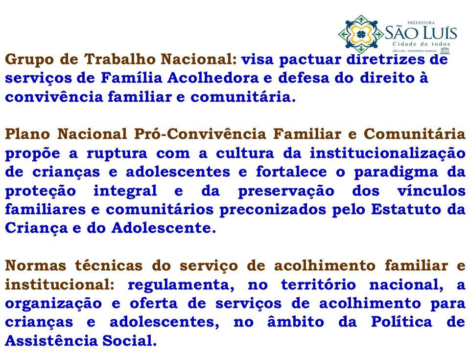 Grupo de Trabalho Nacional: visa pactuar diretrizes de serviços de Família Acolhedora e defesa do direito à convivência familiar e comunitária.