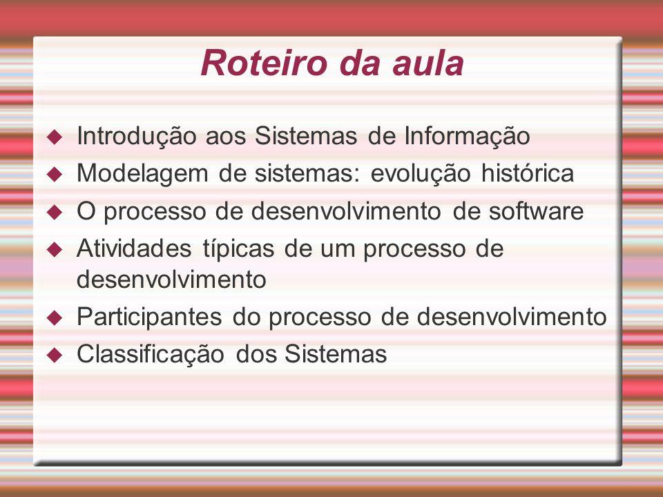 Roteiro da aula Introdução aos Sistemas de Informação