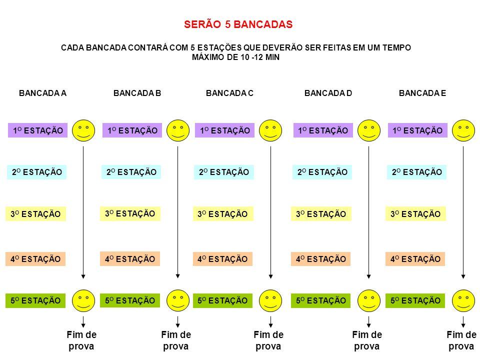 SERÃO 5 BANCADAS Fim de prova Fim de prova