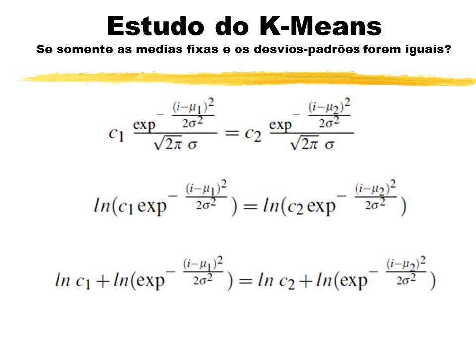 Estudo do K-Means Se somente as medias fixas e os desvios-padrões forem iguais