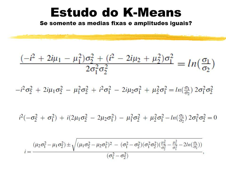 Estudo do K-Means Se somente as medias fixas e amplitudes iguais
