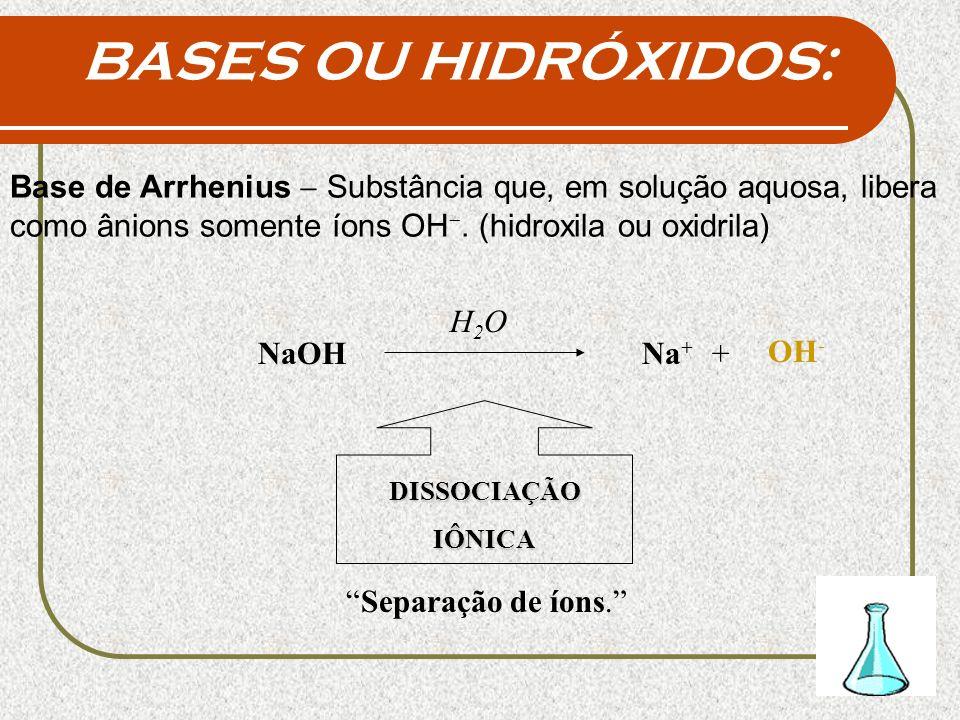 BASES OU HIDRÓXIDOS:Base de Arrhenius - Substância que, em solução aquosa, libera como ânions somente íons OH-. (hidroxila ou oxidrila)