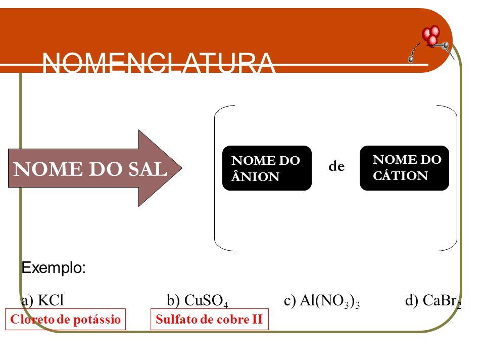 NOMENCLATURA NOME DO SAL de Exemplo: a) KCl b) CuSO4 c) Al(NO3)3