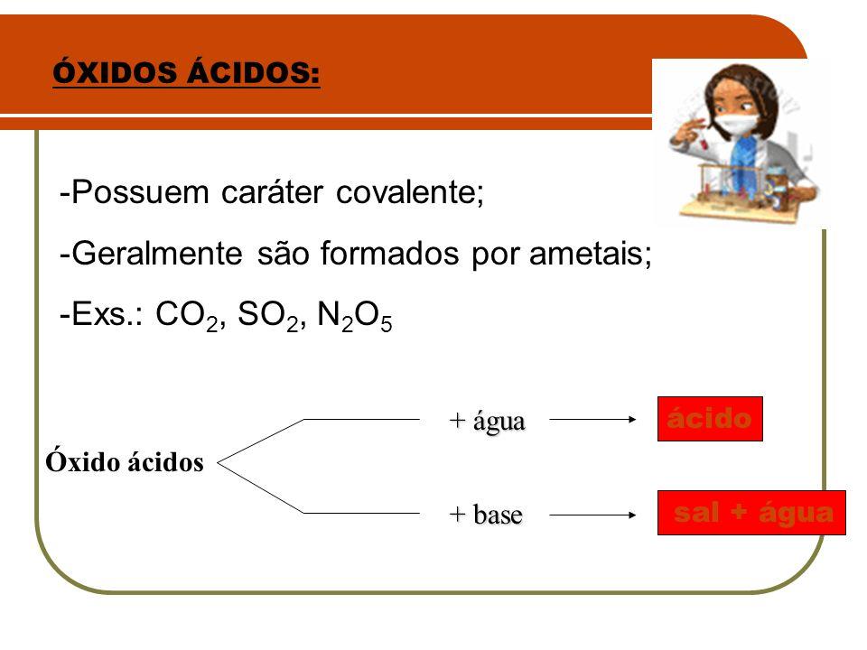 Possuem caráter covalente; Geralmente são formados por ametais;