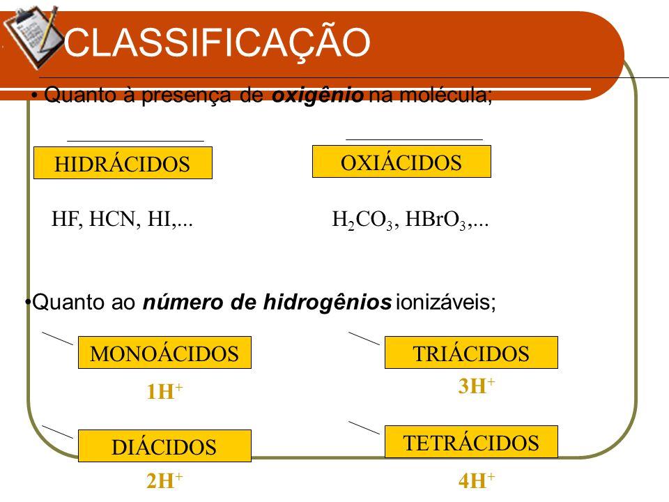 CLASSIFICAÇÃO Quanto à presença de oxigênio na molécula; HIDRÁCIDOS
