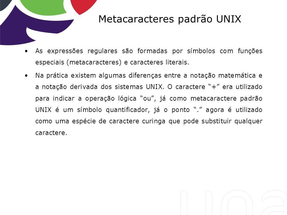 Metacaracteres padrão UNIX
