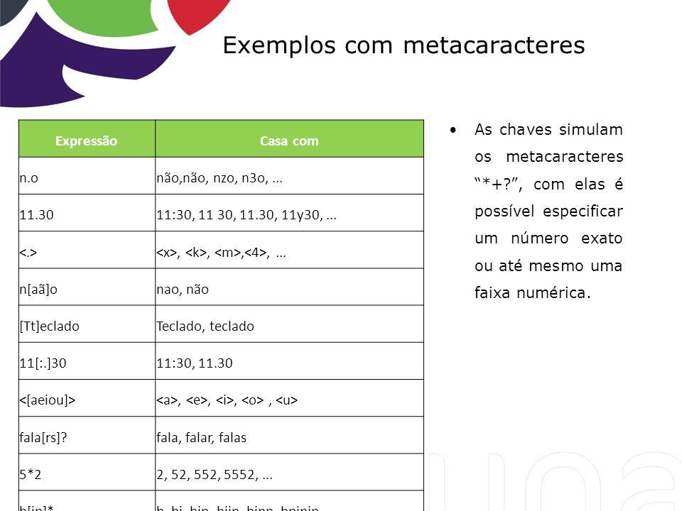 Exemplos com metacaracteres