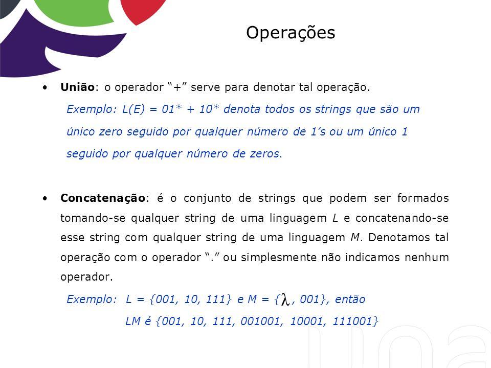 Operações União: o operador + serve para denotar tal operação.