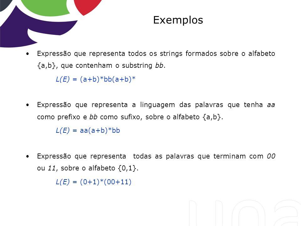 Exemplos Expressão que representa todos os strings formados sobre o alfabeto {a,b}, que contenham o substring bb.