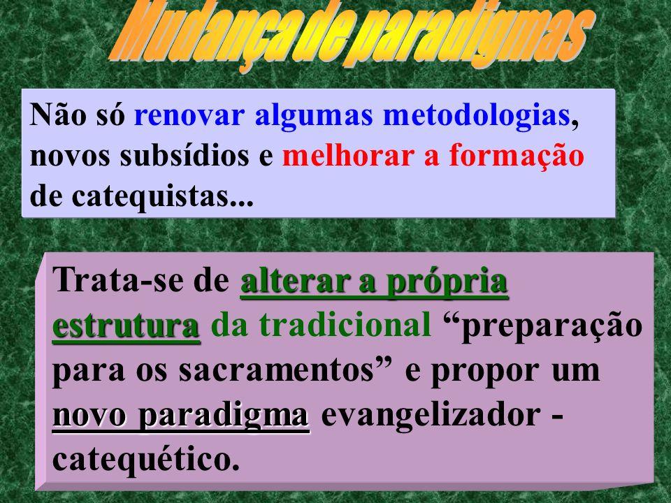 Mudança de paradigmasNão só renovar algumas metodologias, novos subsídios e melhorar a formação de catequistas...